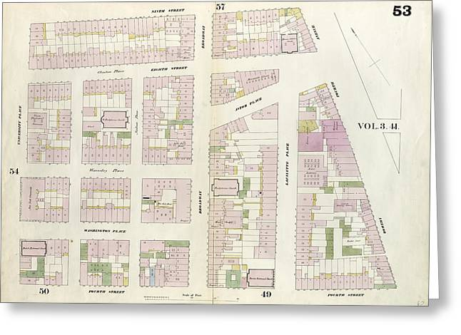 Plate 53 Map Bounded By 9th Street, Fourth Avenue Greeting Card by Litz Collection