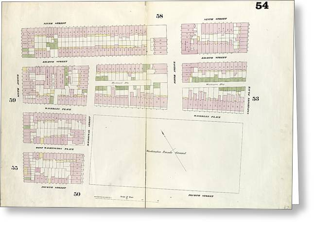 Plate 54 Map Bounded By 9th Street, University Place Greeting Card by Litz Collection
