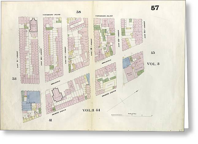 Plate 57 Map Bounded By 14th Street, Fourth Avenue Greeting Card by Litz Collection