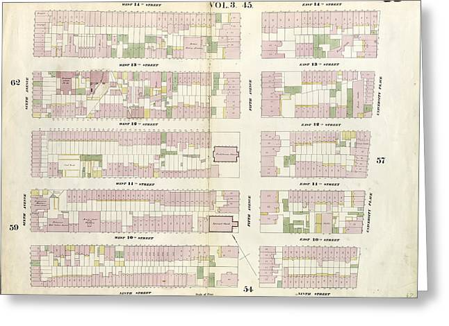Plate 58 Map Bounded By 14th Street, University Place Greeting Card by Litz Collection