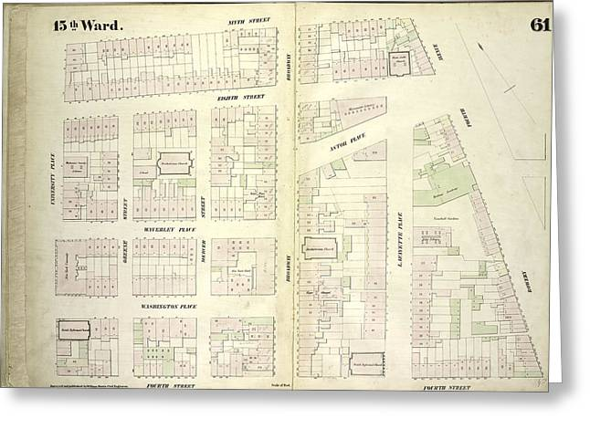 Plate 61 Map Bounded By East 9th Street Greeting Card by Litz Collection