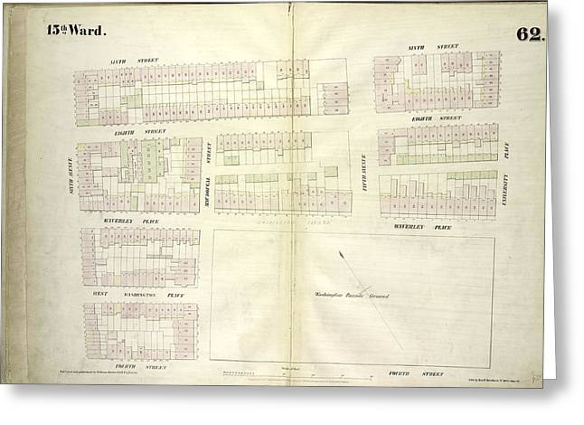 Plate 62 Map Bounded By West 9th Street Greeting Card by Litz Collection