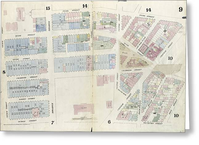 Plate 9 Map Bounded By Pearl Street, Chatham Street, Duane Greeting Card by Litz Collection