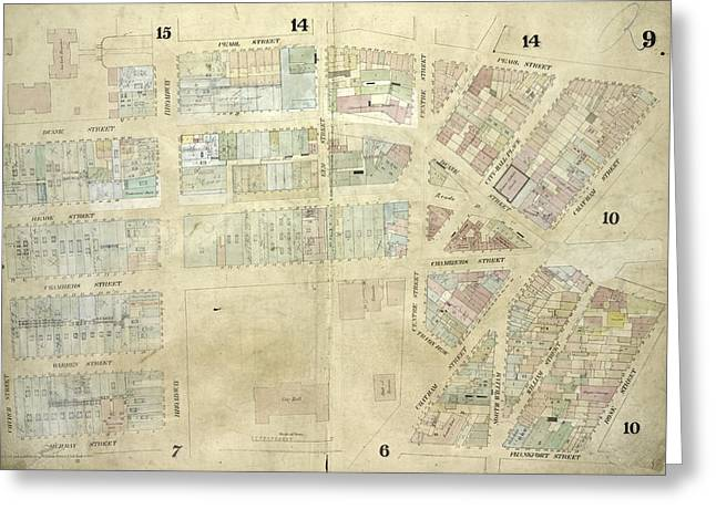 Plate 9 Map Bounded By Pearl Street, Chatham Street Greeting Card by Litz Collection