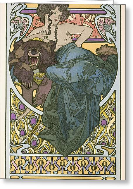 Plate Forty Seven From The Book Documents Decoratifs Greeting Card by Alphonse Marie Mucha