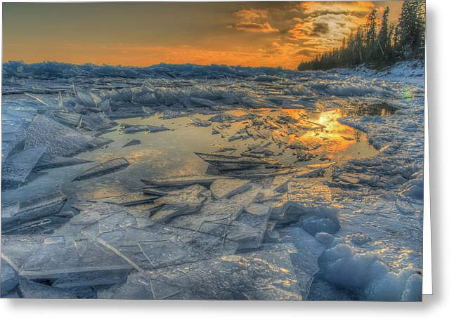 Plate Ice Sunset Greeting Card