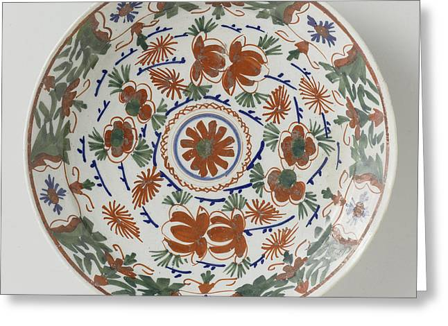 Plate Polychrome Faience Painted With Flower Decoration Greeting Card by Quint Lox