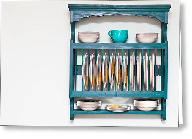 Plate Rack Greeting Card by Tom Gowanlock