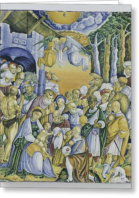 Plate With The Adoration Of Jesus By The Magi Greeting Card by Quint Lox