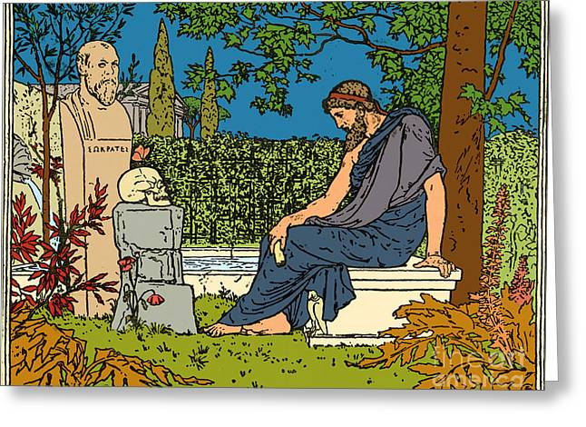 Plato, Greek Philosopher, At Socrates Greeting Card by Science Source