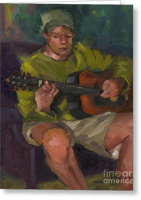 Greeting Card featuring the painting Play A Song For Me by Nancy  Parsons