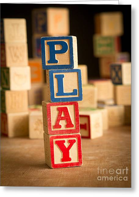 Play - Alphabet Blocks Greeting Card by Edward Fielding