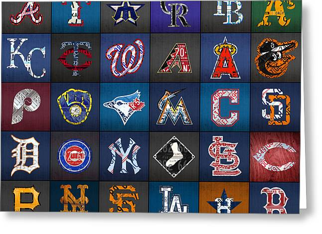 Play Ball Recycled Vintage Baseball Team Logo License Plate Art Greeting Card