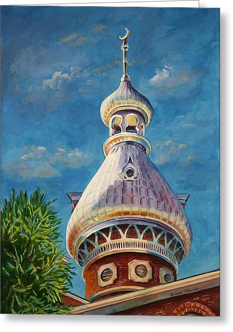 Greeting Card featuring the painting Play Of Light - University Of Tampa by Roxanne Tobaison