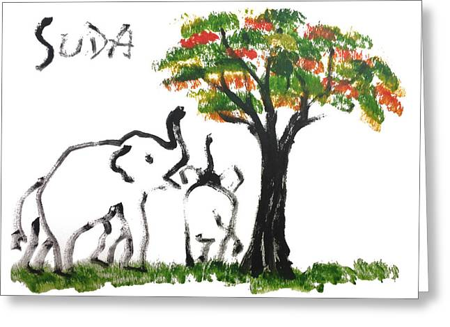 Prints - Elephant Paintings - Play Time Flames  Greeting Card