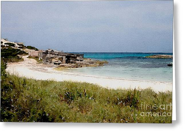 Playa De Illetas Watercolour Greeting Card by John Edwards