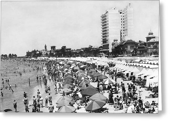Playa Pocitos In Uruguay Greeting Card by Underwood Archives