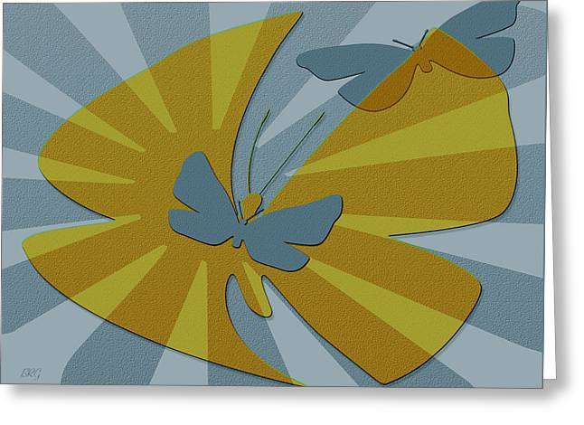 Playful Butterflies In Blue And Yellow Greeting Card by Ben and Raisa Gertsberg