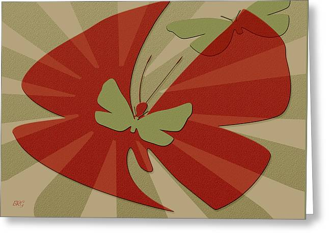 Playful Butterflies In Red And Green Greeting Card by Ben and Raisa Gertsberg