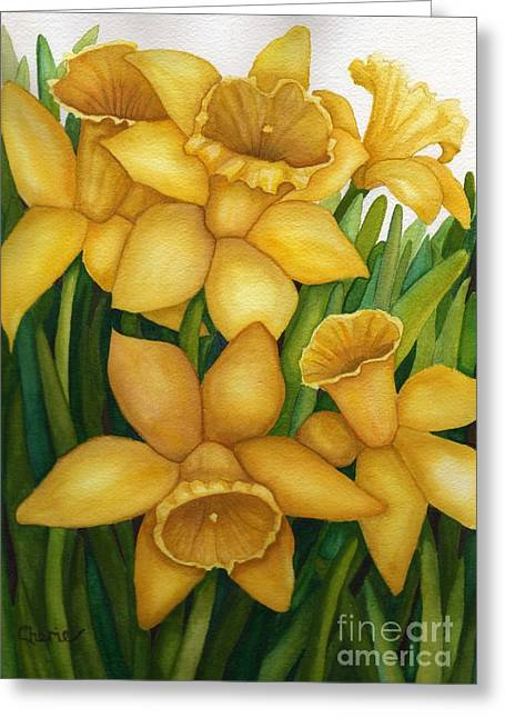 Playful Daffodils Greeting Card by Vikki Wicks