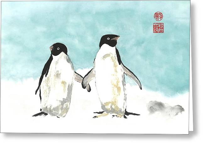 Playful Penguins  Greeting Card