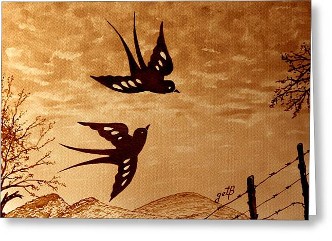 Greeting Card featuring the painting Playful Swallows Original Coffee Painting by Georgeta  Blanaru