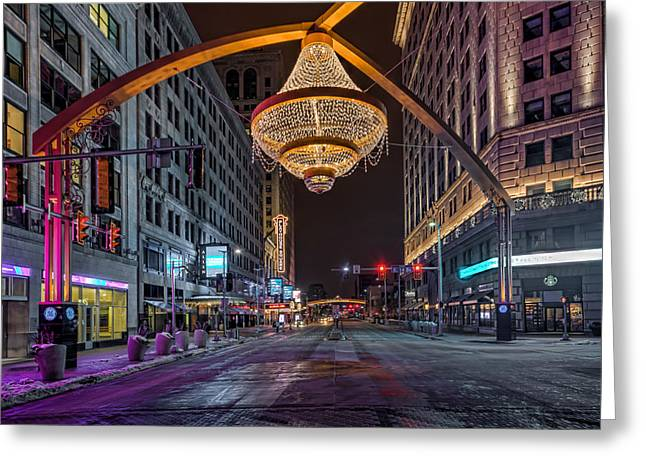 Greeting Card featuring the photograph Playhouse Square Chandelier  by Brent Durken