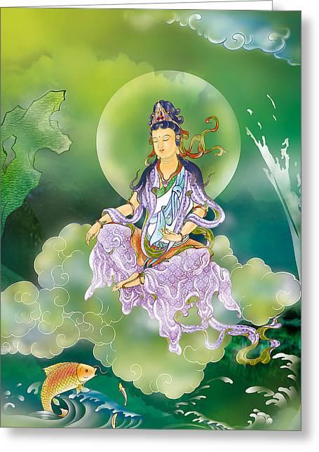 Playing Avalokitesvara   Greeting Card by Lanjee Chee