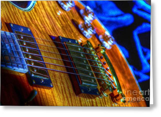 Playing Blue Digital Guitar Art By Steven Langston Greeting Card by Steven Lebron Langston