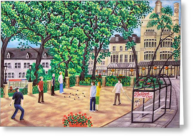 Playing Boules At Betty's Cafe- Harrogate Greeting Card by Ronald Haber