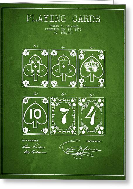 Playing Cards  Patent Drawing From 1877 - Green Greeting Card by Aged Pixel