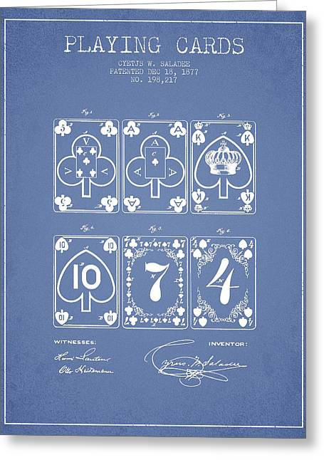 Playing Cards  Patent Drawing From 1877 - Light Blue Greeting Card by Aged Pixel