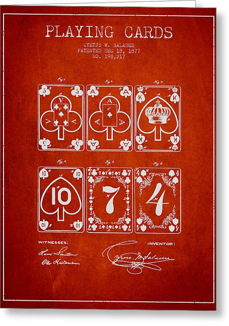 Playing Cards  Patent Drawing From 1877 - Red Greeting Card by Aged Pixel