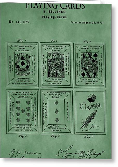 Playing Cards Patent Green Greeting Card by Dan Sproul