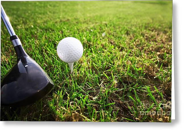 Playing Golf. Club And Ball On Tee Greeting Card by Michal Bednarek