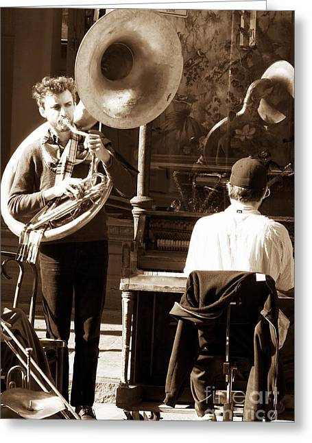 Playing In New Orleans Greeting Card by John Rizzuto