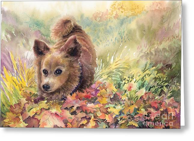 Playing In The Leaves Greeting Card by Marilyn Young