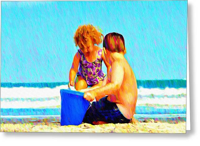 Playing In The Sand Greeting Card by Bill Cannon