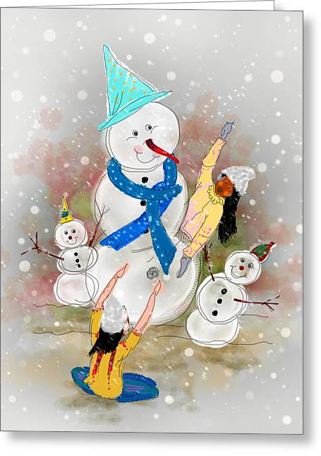 Playing In The Snow Greeting Card by Dumindu Shanaka