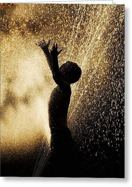 Playing In The Sprinkler Greeting Card by Con Tanasiuk