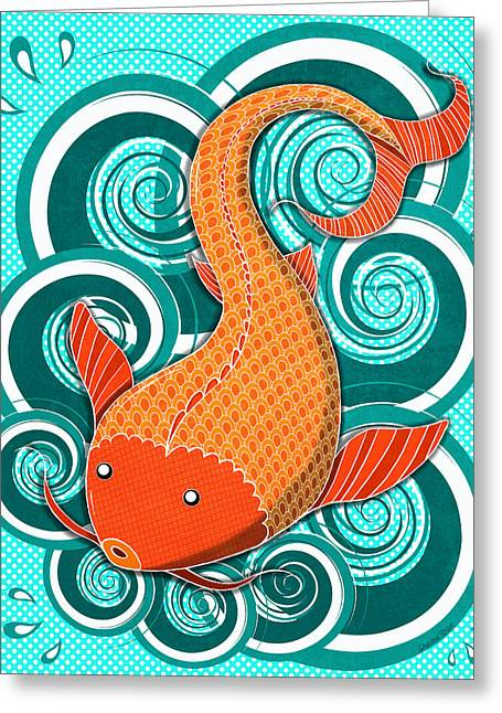 Playing Koi Greeting Card by Shawna Rowe