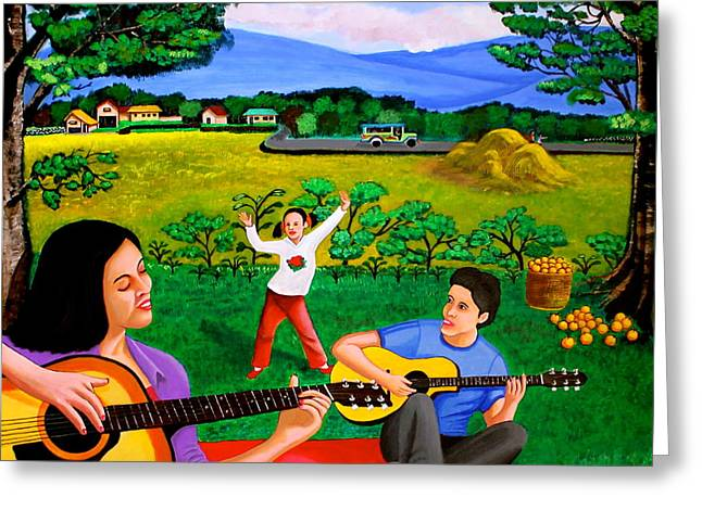 Greeting Card featuring the painting Playing Melodies Under The Shade Of Trees by Cyril Maza