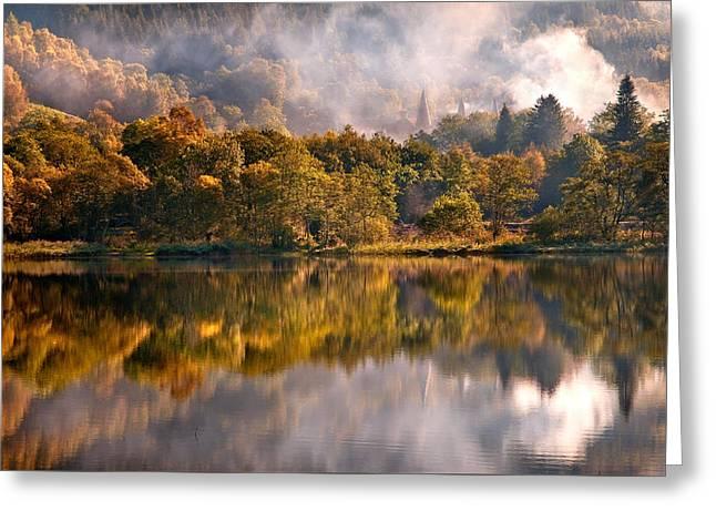 Playing Mirror. Loch Achray. Scotland Greeting Card