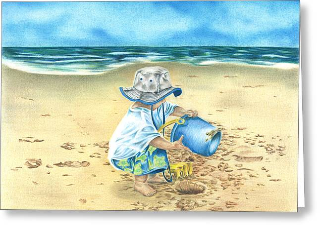 Greeting Card featuring the drawing Playing On The Beach by Troy Levesque