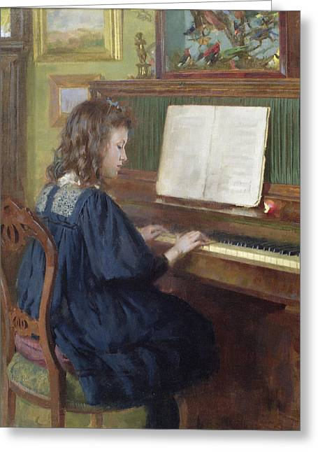 Playing The Piano Greeting Card by Ernest Higgins Rigg