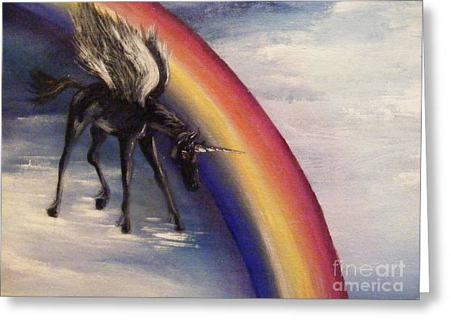 Greeting Card featuring the painting Playing With Rainbow by Karen  Ferrand Carroll