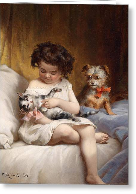 Playing With The Cat Greeting Card by Carl Reichert