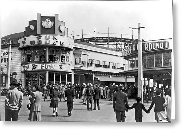 Playland In San Francisco Greeting Card by Underwood Archives