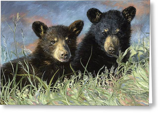Playmates Greeting Card by Lucie Bilodeau