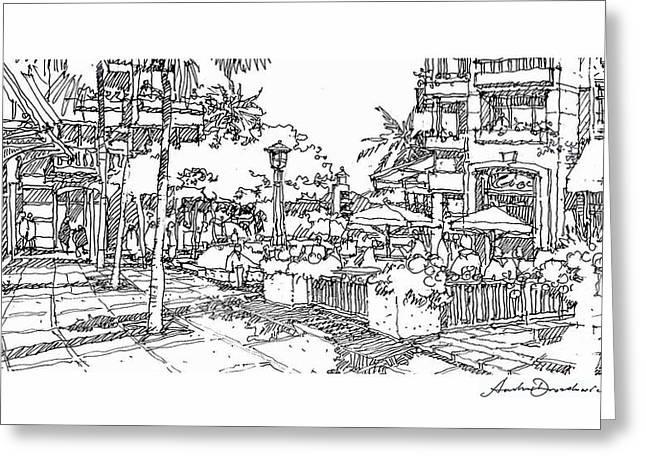Plaza Greeting Card by Andrew Drozdowicz